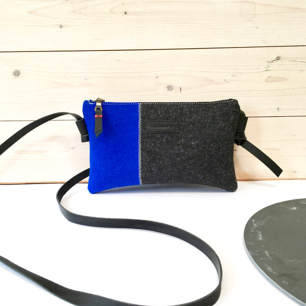 Felt crossbodybag in black and blue by westerman bags