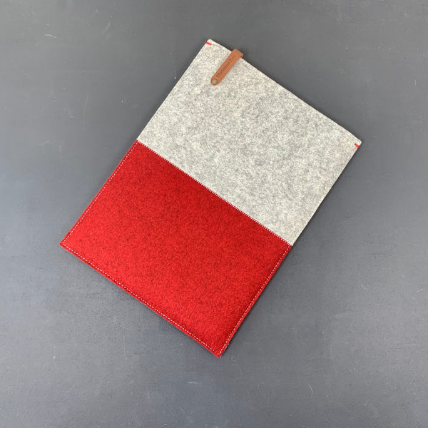 Macbook felt sleeve case in grey and red