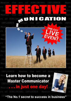 "A picture of the front cover of a brochure advertising a one-day seminar by Simon H Firth called ""Effective Communication"" which teaches people how to excel at written and verbal communication and use their new skills to grow their business or fast-track their career."