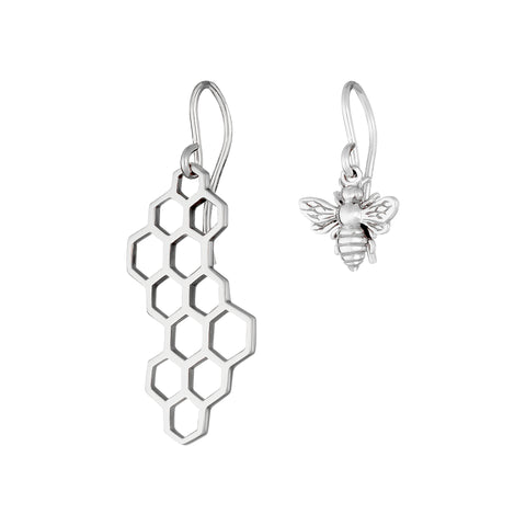 Sterling Silver Honeycomb and Bee Dangle Earrings