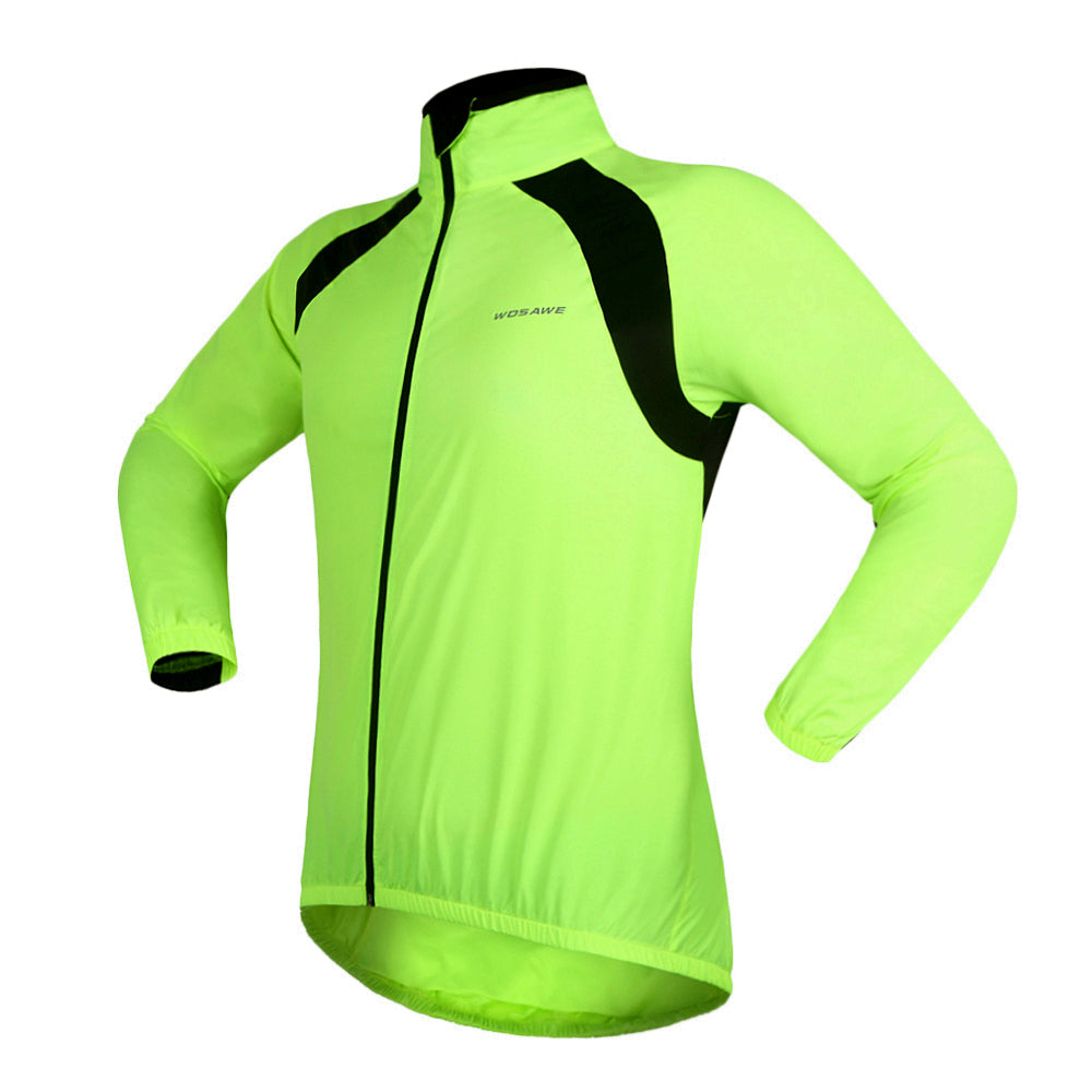 Wosawe Outdoor Sports Windbreaker Long-sleeve Breathable Anti-splash Water Cycling Jersey for Leisure