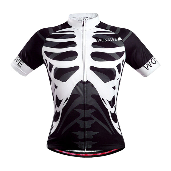 Wosawe Skeleton Printed Short Sleeves Cycling Jersey