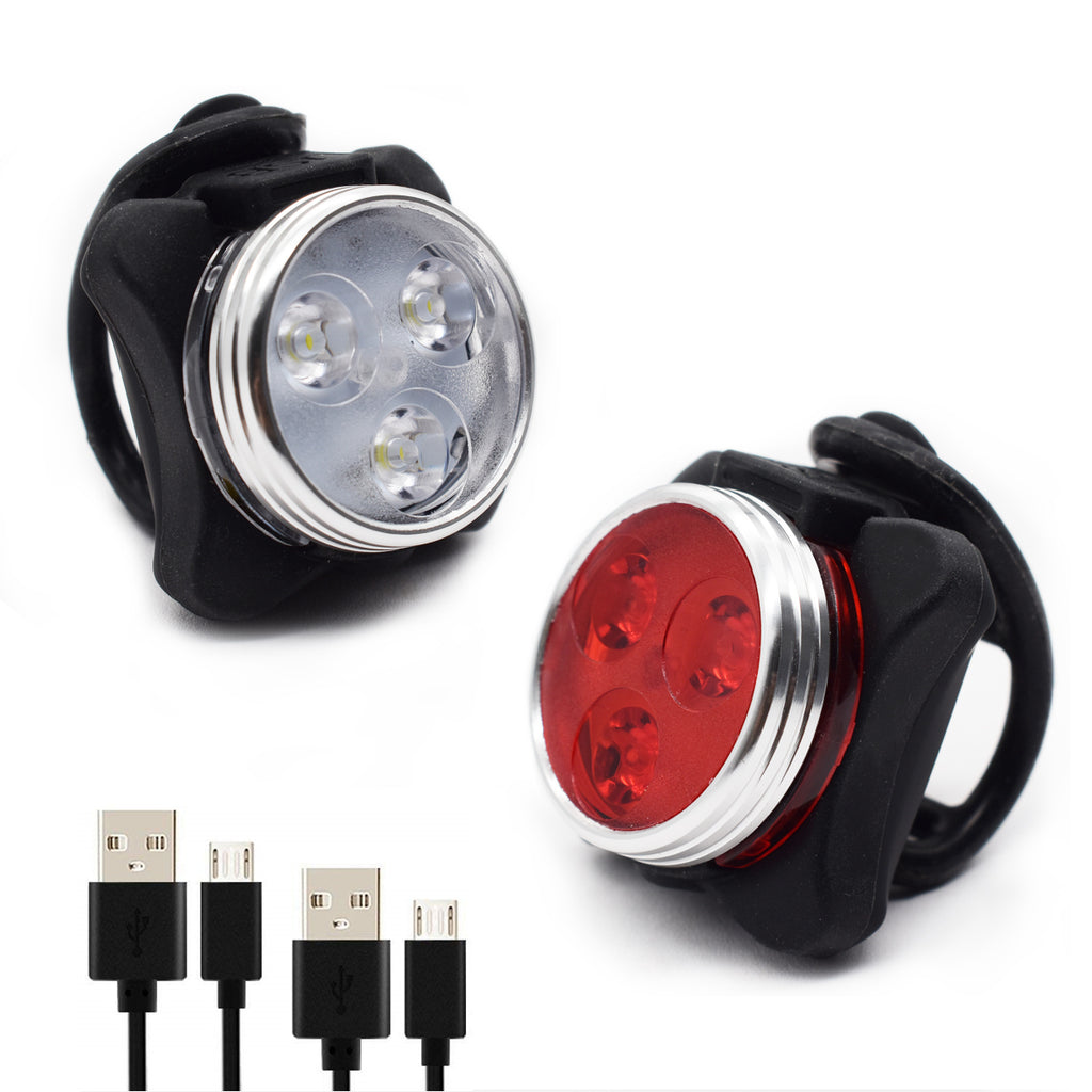WOSAWE Bicycle Light Set USB Rechargeable Bike Lights Front and Back 2 Pack Headlight-Taillight Combinations