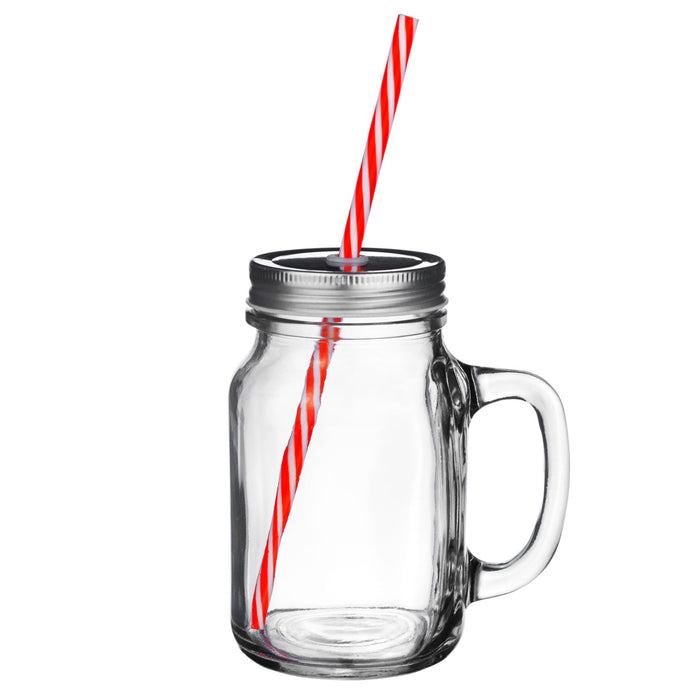 Rink Drink Jam Jar Drinking Glass with Lids and Straws - 620ml