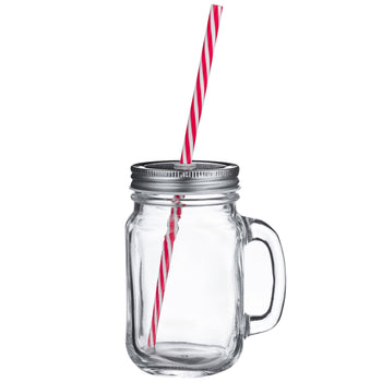 Rink Drink Jam Jar Drinking Glass with Lids and Straws - 450ml