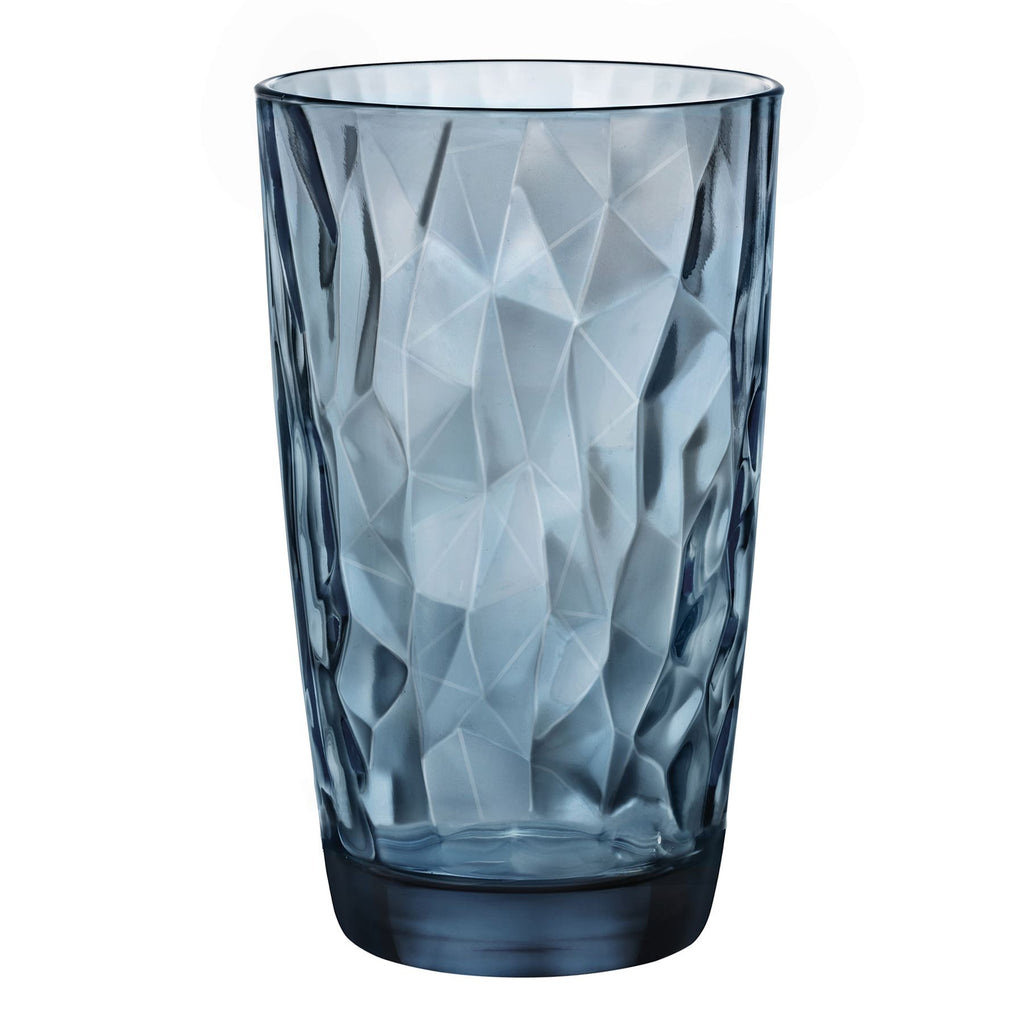 Bormioli Rocco Diamond Highball Glasses - Blue - 470ml - Pack of 6