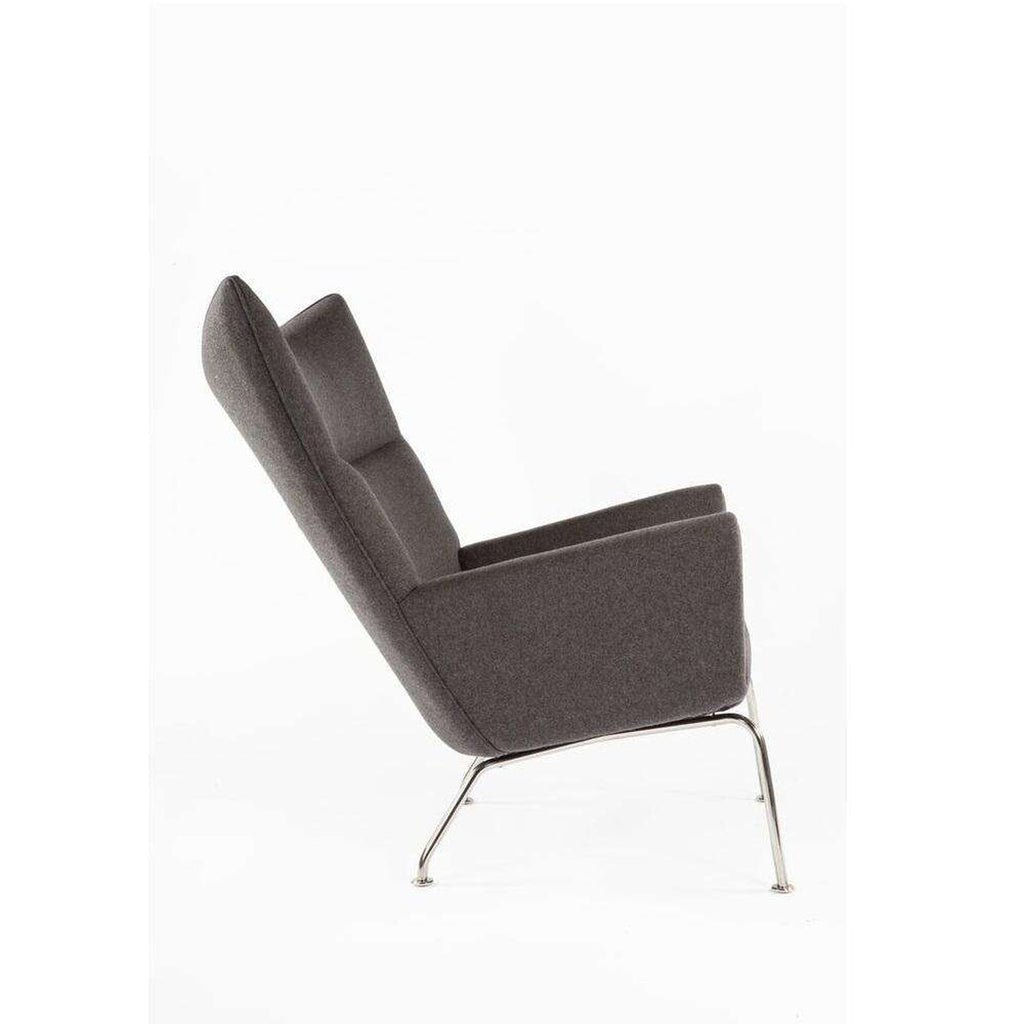 Custom Danish Wing Chair - Charcoal