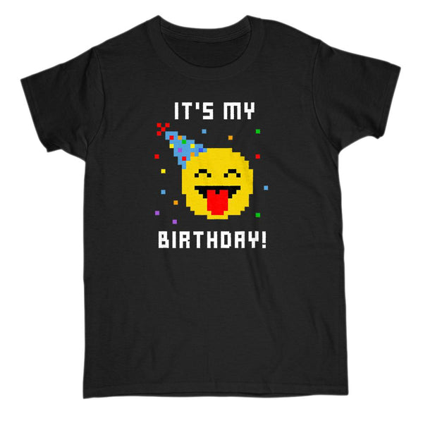 (Gildan Women's Tee) It's My Birthday Pixelated Pixel Emoji Graphic T-Shirt Tee BOXELS