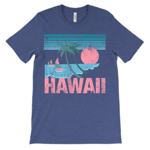 (Unisex BC 3001 Soft Tee) Iconic State Scenery - Hawaiian Pink Sunset Graphic T-Shirt Tee BOXELS