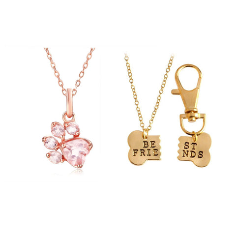 Rose Gold Paw Necklace and BFF Necklace Set