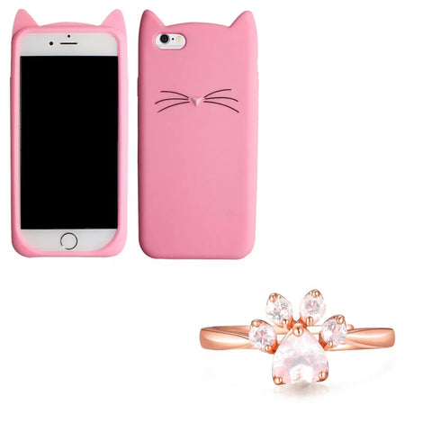 "Pink ""I'm a Cat"" iPhone Case & Rose Gold Paw Ring Set"