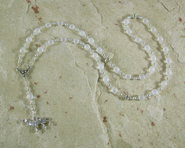 Skadhi Prayer Bead Necklace in Frosted Quartz: Norse Goddess of Winter and the Wilderness - Hearthfire Handworks