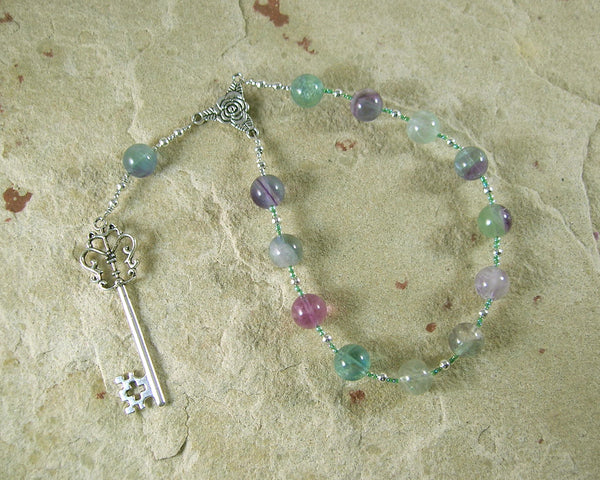 Hekate (Hecate) Pocket Prayer Beads in Purple Fluorite: Greek Goddess of Magic and Witchcraft - Hearthfire Handworks