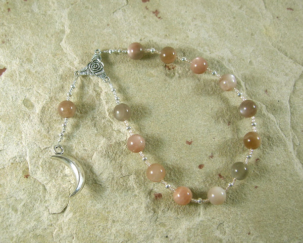 Selene Pocket Prayer Beads in Moonstone: Greek Goddess of the Moon