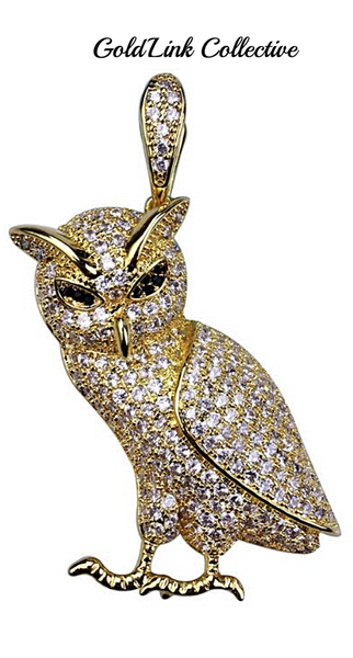 14k Gold Iced out OVO Owl Pendant