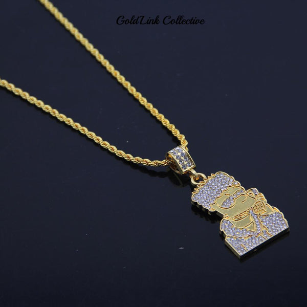 14k Gold Iced out Bart Simpson Pendant
