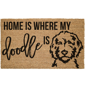 Home Is Where My Doodle Is W/ Picture Coir Doormat