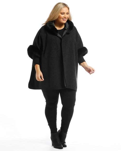 Lux Poncho Coat With Hood - Black