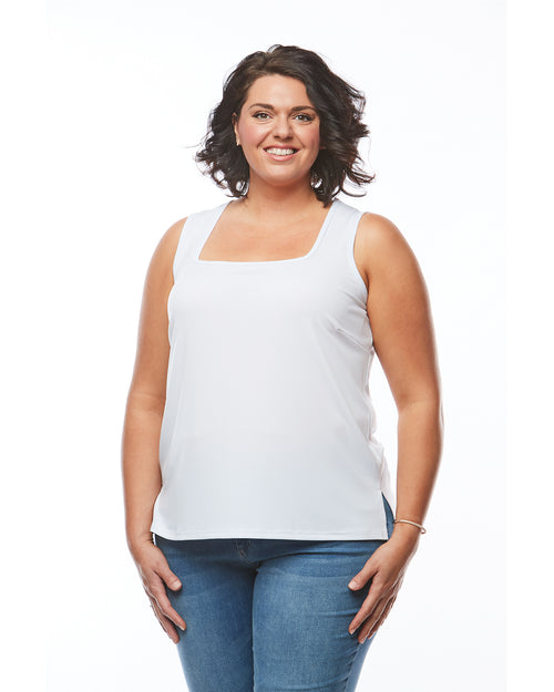 Plus size singlet top white