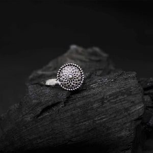 Ferosh Body Jewellery Karvi Flower Engraving Silver Oxidized Nose Pin