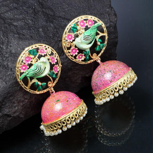 Ferosh Earrings Ratna Statement Green-Pink Jhumkas