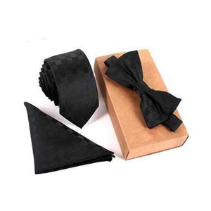 Ferosh Tie sets One size Solid Black Tie Set