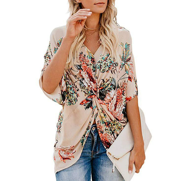 Bohemia-Style Floral-Printed V-Neck Ruched Casual Blouse
