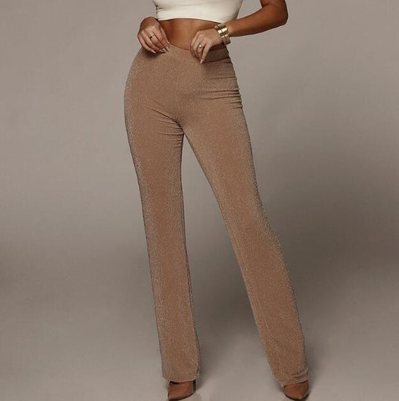 Summer Casual High-Waist Wide-Leg Elastic Trousers