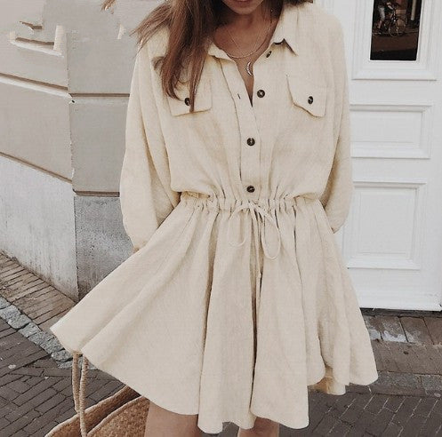 Linen Long-sleeved Short Shirt/ Dress
