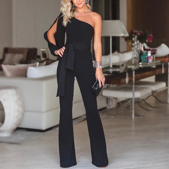 Elegant and Stylish One-Shoulder Slit-Sleeve Casual Romper