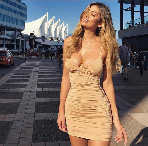 2-Layers Ruched Bodycon Mini Dress