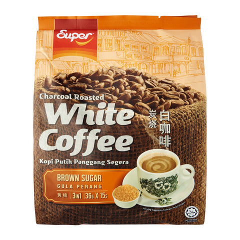 Super 3-In-1 Charcoal Roasted White Coffee With Brown Sugar 15 x 36 g