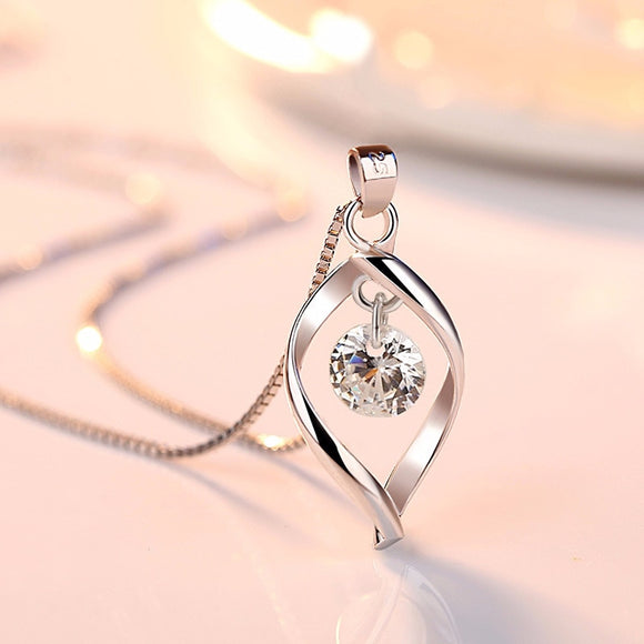 Twist 925 Sterling Silver Crystal AAA Zircon Pendant Necklaces - Love Touch Jewelry