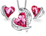 Pink Angel Swarovski Heart Pendant Necklaces and Stud Earrings Jewelry Sets - Love Touch Jewelry