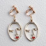 Abstract Art Face Clip Earrings - Love Touch Jewelry