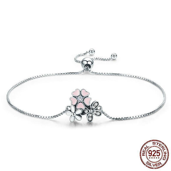 Pink Heart Blossom Cherry Flower Bracelet (Genuine 925 Sterling Silver) - Love Touch Jewelry
