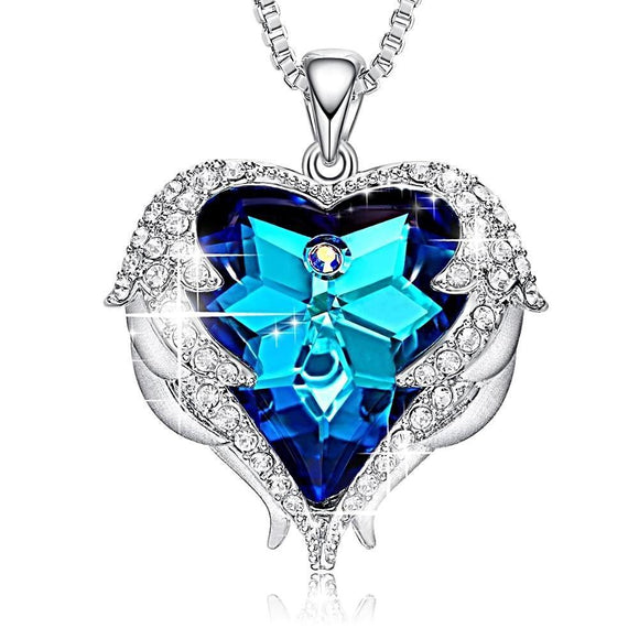 Angel Wings Heart Crystal Pendant Necklace - Love Touch Jewelry