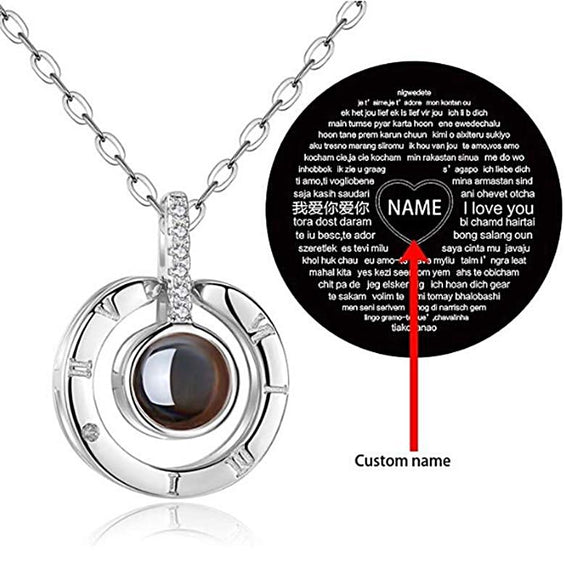 I Love You 100 Language Pendant Necklace With Personalized Name/Picture - Love Touch Jewelry