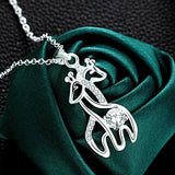 Adorable Silver-Plated Double Giraffe Pattern Crystal Pendant Necklace - Love Touch Jewelry
