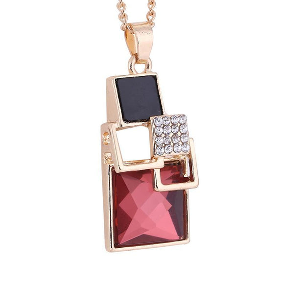 Classic Geometric Square Crystal Necklaces - Love Touch Jewelry
