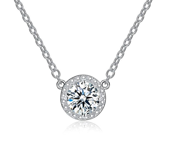 Swiss CZ White Gold Cubic Zirconia Pendant Necklaces - Love Touch Jewelry