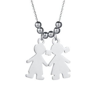 Personalized Boy And Girl Engraved Pendant Necklaces - Love Touch Jewelry