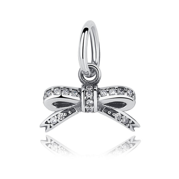 Sparkling Bow Pendant Charm (Genuine 925 Sterling Silver) - Love Touch Jewelry