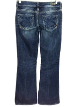 Silver Jeans Lola Dark Wash Distressed Thick Stitch Decorative Pockets Womens 27 - FunkyCrap Boutique