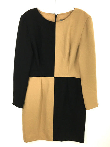 Michael Kaye NYC Black Tan Color Block Pleated Long Sleeve Dress Womens 6 - Preowned - FunkyCrap Boutique