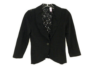 Love On A Hanger Jacket Lace Back Blazer Black Crop Cardigan Womens Small S - Preowned - FunkyCrap Boutique