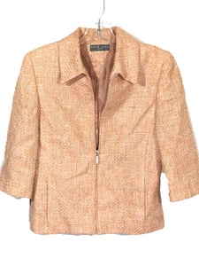 Kate Hill Blazer Jacket Pink Zip Padded Shoulder Silk Linen Womens 8P 8 Petite-Preowned - FunkyCrap Boutique