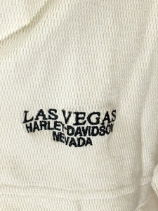 Las Vegas Harley Davidson Nevada Sewn Logo Button Collar Shirt Beige Men Large L - Preowned - FunkyCrap Boutique