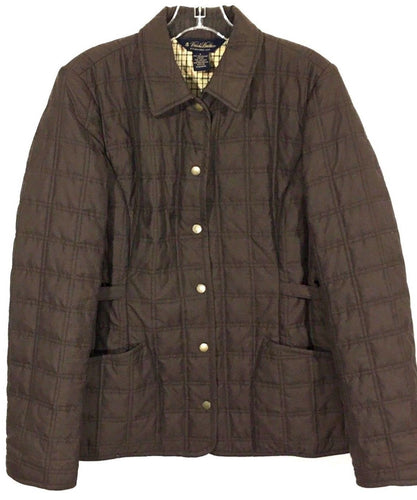 Brooks Brothers Brown Quilted Barn Jacket Snap Button Plaid Lining Womens Size 8 - Preowned - FunkyCrap Boutique