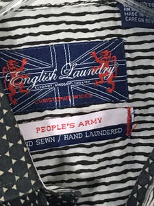 English Laundry Peoples Army Hidden Button Velvet Contrast Flip Cuff Shirt Men M - Preowned - FunkyCrap Boutique